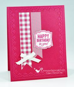 Melon Mambo card features Label Love & its matching Artisan Punch, Gingham Garden dsp, and Framed Tulips embossing folder. Homemade Birthday Cards, Happy Birthday Cards, Homemade Cards, Stampin Up Karten, Stampin Up Cards, Love Cards, Diy Cards, Chevron Cards, Washi Tape Cards