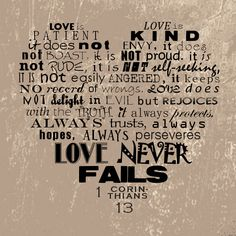 1 Corinthians 13 - one of the readings from our wedding, one of my favorites. <3