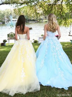 Sherri Hill 50864 Prom Dress Lace appliques adorn this Sherri Hill 50864 straight strapless prom dress with a ball gown silhouette, showcasing a beaded waistband and a semiopen back The full skirt cascades into a sweep train Pretty Prom Dresses, Prom Dresses Blue, Formal Dresses, Dress Prom, Sherri Hill Prom Dresses, Cinderella Prom Dresses, Homecoming Dresses, Pastel Prom Dress, Yellow Formal Dress