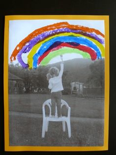 Cadre photo arc en ciel pour la fête des papas