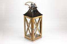 Lanterna X Madeira e Níquel 27 x 27 x 73 cm | A Loja do Gato Preto | #alojadogatopreto | #shoponline | referência 110856224