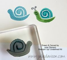 I made my own stamp!! Carved with Stampin' Up! Undefined Stamp Carving Kit. Isn't he cute? Check out the full card: http://juliedavison.blogspot.com/2013/08/undefined-snail-belated-birthday-flip.html