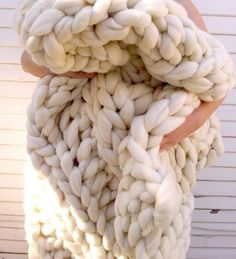 Chunky Wool Blankets to Buy or DIY | Apartment Therapy (Chunky Knit Throw, 60 x 60, $250 from Lily and Peabody on Etsy.)