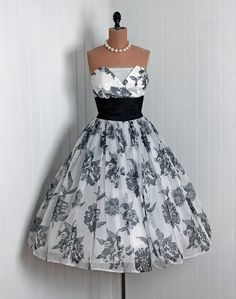 Vintage black and white floral #2