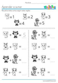 Sumas de dibujos con valores del uno al cinco. #preescolar #niños #dibujos  http://edufichas.com/actividades/matematicas/sumas/sumas-de-dibujos/