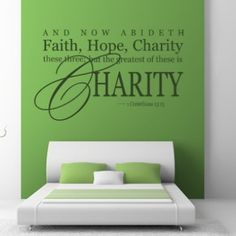 And Now Abideth Faith, Hopem Charity These Three... Quote Wall Sticker - Religious Quotes - Wall Quotes