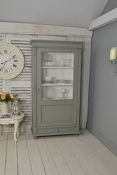 #letstrove We adore this colour and it's calming vibe! This rustic Dutch Linen Cupboard, or Display Cabinet is perfect for any room in the house. We've painted in Mylands Shoreditch, a beautiful grey green, with white inside, lightly distressed and aged with dark wax. https://www.thetreasuretrove.co.uk/kitchen-storage/single-door-rustic-dutch-shabby-chic-linen-cupboard-display-cabinet #rustic #mylandsshoreditch #shabbychic #greengrey #rusticfurniture