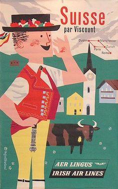 Aer Lingus ~ Switzerland, Negus Sharland, 1950s
