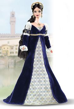 Princess of the Renaissance™ Barbie® Doll. The Princess of the Renaissance™ is a privileged child of the beautiful city of Florence living in an exciting time of renewal and enlightenment. She wears an elegant gown and headdress like those worn in Italy during the 14th century by noblewomen and members of the wealthy merchant class.