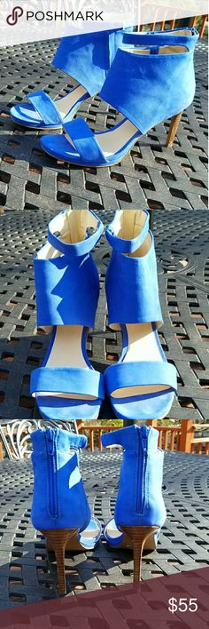 Nine West blue soft leather sandal pumps Beautiful bright blue color - worn only once. These are super comfortable and a great accent color for the spring coming. These don't come with a box. Nine West Shoes