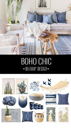 the boho chic look - 32 bohemian interior design ideas Stunning Bohemian designs focusing on a palette of blue, white and natural materials with the items that will help you get this amazing look in your home.Palette Palette may refer to: Bohemian Bedroom Design, Bohemian Interior Design, Bohemian Decor, Home Interior Design, Bedroom Designs, Nordic Interior, Interior Livingroom, Interior Ideas, Bohemian Style