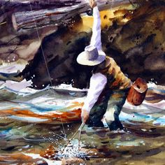Trout Fishing Watercolor Print from original Painting By Dean Crouser. $25.00, via Etsy.