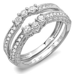 0.60 Carat (ctw) 14k White Gold Round Diamond Ladies Anniversary Wedding Band Enhancer Guard Ring - List price: $1,886.00 Price: $539.00 + Free Shipping