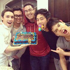 Some of the YTF guys celebrating Chester's birthday (Chester See, Andrew Garcia, JRA, Ryan Higa, D-Trix)