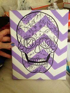Sugar skull chevron canvas tri sigma