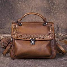 308914ac545 Brown Vintage Leather Purse Handmade Rivet Satchel Handbag Shoulder  Crossbody Bags Purses Satchel Handbags, Crossbody