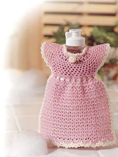 Pink Pinafore - dress up your soap, lotion, etc. Leave off the rose and ribbon and it can be used as a dishcloth