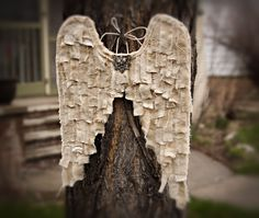 wings made from muslin/ add shreds of lace and oth textile.