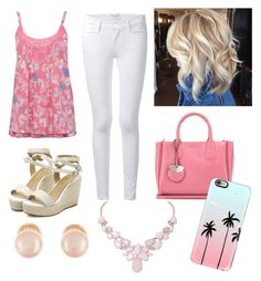 """""""Pretty in pink"""" by parker1126 on Polyvore featuring M&Co, Frame Denim, Salvatore Ferragamo, Kenneth Jay Lane, Humble Chic and Casetify"""