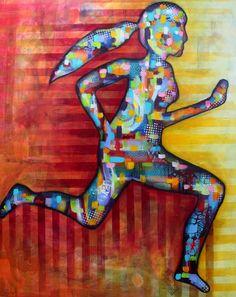 """Nancy Létourneau (Pixels) 'Phylanthrope' 2016 Technique mixte sur toile galerie 48"""" x 60"""" Yoga Legging, Pixel, Footprint, Leggings, Creations, Symbols, Abstract, Figurative, Painting"""
