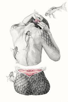 """Koi I"" - Elisa Ancori, pencils {contemporary figurative surreal art female back amputated woman torso flying fish drawing} elisancori.com"