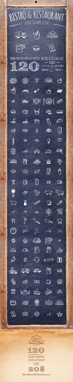 Bistro and Restaurant Icons - Hand Drawn Icons