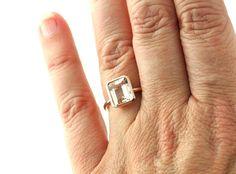 14K Rose Gold Morganite Ring Bezel Solitaire Emerald by RareEarth, $658.00
