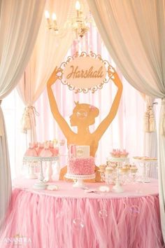 Ballerina dessert table from an Elegant Ballerina Birthday Party on Kara's Party Ideas | KarasPartyIdeas.com (17)
