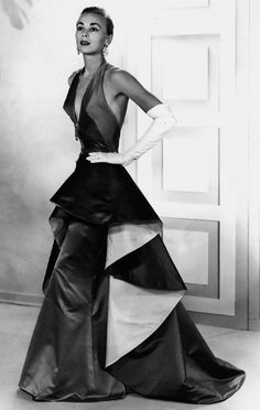 Evening gown by Irene (Lentz Gibbons) in sapphire and emerald satin c1953