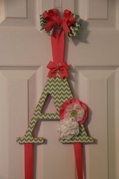 Lime Green and Pink Chevron Shabby Chic Bow by ruffles2ribbons, $18.00