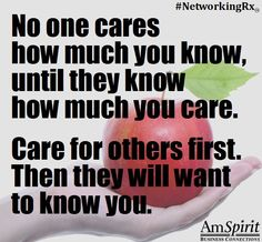#NetworkingRx: Professionally, how do you demonstrate your caring of others?