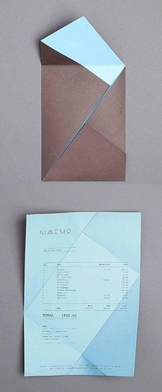 folding receipt, Maaemo identity by Bureau Bruneau graphic design; It can be folded flat to be posted through a door & a design could be put on the outside to entice people to open it up. Graphisches Design, Buch Design, Layout Design, Flat Design, Cv Inspiration, Graphic Design Inspiration, Typography Design, Lettering, Design Graphique