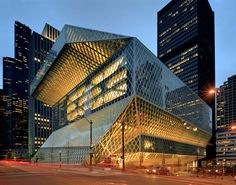 This is Rem Koolhaas' Seattle Central Library, voted as one of America's favorite structures by the American Institute of Architects.