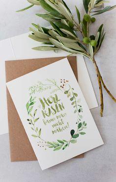 Hochzeitseinladung, Papeterie, Stennie Hochzeitspapeterie, Grün, Trend Greenery, Fräulein Herzrasen