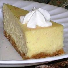 """Eggnog Cheesecake III Recipe - 2 pkgs of cream cheese full-fat & light, added about 3/4 to 1 tsp of cinnamon, 1/2 tsp of nutmeg sub 3/4 tbsp of vanilla extract for the rum, use 1 cup eggnog. MAKE DAY BEFORE YOU NEED  """"crustless cheesecake"""" recipe directions for baking excess batter - fill  cake pan with water and put it on the bottom rack of the oven, below the middle rack where the cheesecake is - finished cooking turn off the heat open the oven door a bit let it cool couple hours before…"""