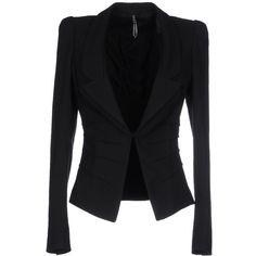 Liviana Conti Blazer ($295) ❤ liked on Polyvore featuring outerwear, jackets, blazers, black, blazer jacket, lapel jacket, single breasted jacket and collar jacket