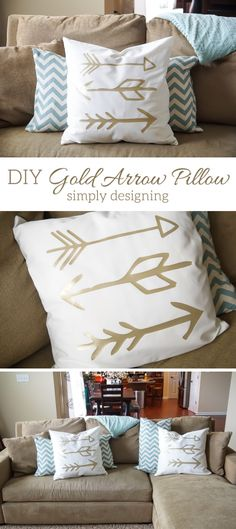 DIY Gold Arrow Pillows - this is such a fun home decor project made with  my Silhouette & Heat Transfer