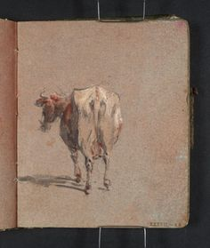 Joseph Mallord William Turner 'A Brown and White Cow, Seen from Behind', 1796–7 - Gouache, graphite and watercolour on paper -  Dimensions Support: 113 x 93 mm -  Collection -  Tate