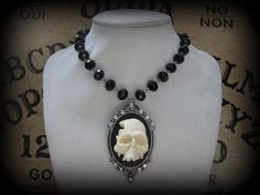 3D Smashed Skull Cameo Necklace with Swarovski Crystals