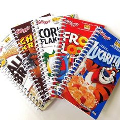recycled mini notebooks made from cereal boxes or whatevery you can dream up- Kids might really love these!