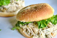 Slow Cooker Chicken Caesar Sandwiches- sign me up for this yummy, slow cooker recipe. Ideal for a hectic day. Via Rachel Schultz
