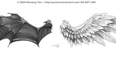 Tattoos Discover Wings Tattoo Commission by yuumei. Angle Wing Tattoos, Wing Tattoo Men, Wing Tattoo Designs, Demon Wings, Ange Demon, Angel Demon Tattoo, Schulterpanzer Tattoo, Body Art Tattoos, Tattoo Neck