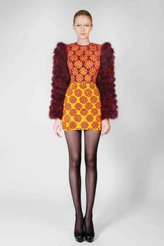 Hand Embroidered Short Dress With Marabou Feather Sleeves
