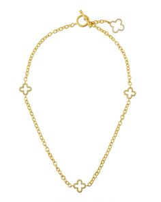 Freida Rothman Open Clover Station Necklace, Women's, Size: L, GOLD