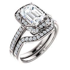 1.5 Ct Emerald Diamond Engagement Ring 14k White Gold – Goldia.com