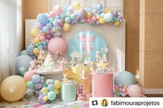 Kids Birthday Themes, Baby Birthday Cakes, Circus Birthday, Birthday Parties, Kids Party Decorations, Balloon Decorations, Baby Shower Gender Reveal, Baby Shower Themes, Anniversaire Candy Land