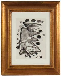 "14809- Santos Rene Irizarry, Mid 20th Century, Ink Wash on Paper, 10.5""x12"" Framed"