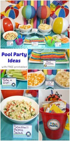 Pool Party Ideas with free pool party printables! A fun theme for a summer birthday party!