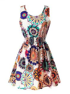 cool Women's Casual Summer Fit and Flare Floral Sleeveless Dress