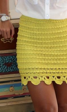 yellow crochet skirt
